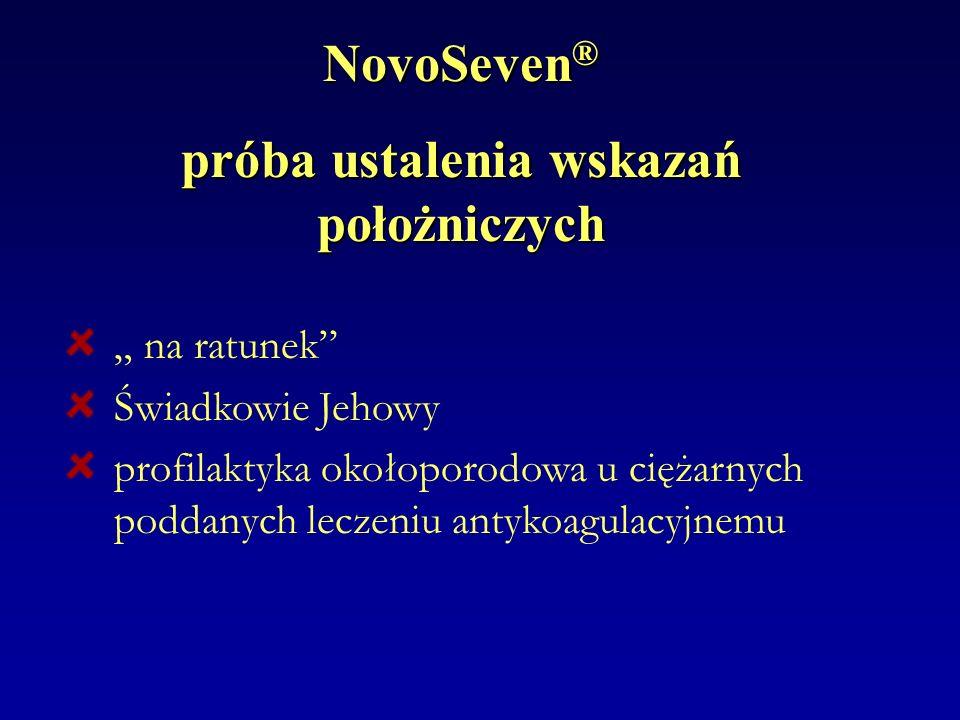 NovoSeven ® próba ustalenia wskazań położniczych na ratunek Świadkowie Jehowy profilaktyka okołoporodowa u ciężarnych poddanych leczeniu antykoagulacy