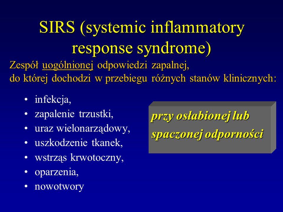 SIRS (systemic inflammatory response syndrome) infekcja, zapalenie trzustki, uraz wielonarządowy, uszkodzenie tkanek, wstrząs krwotoczny, oparzenia, n