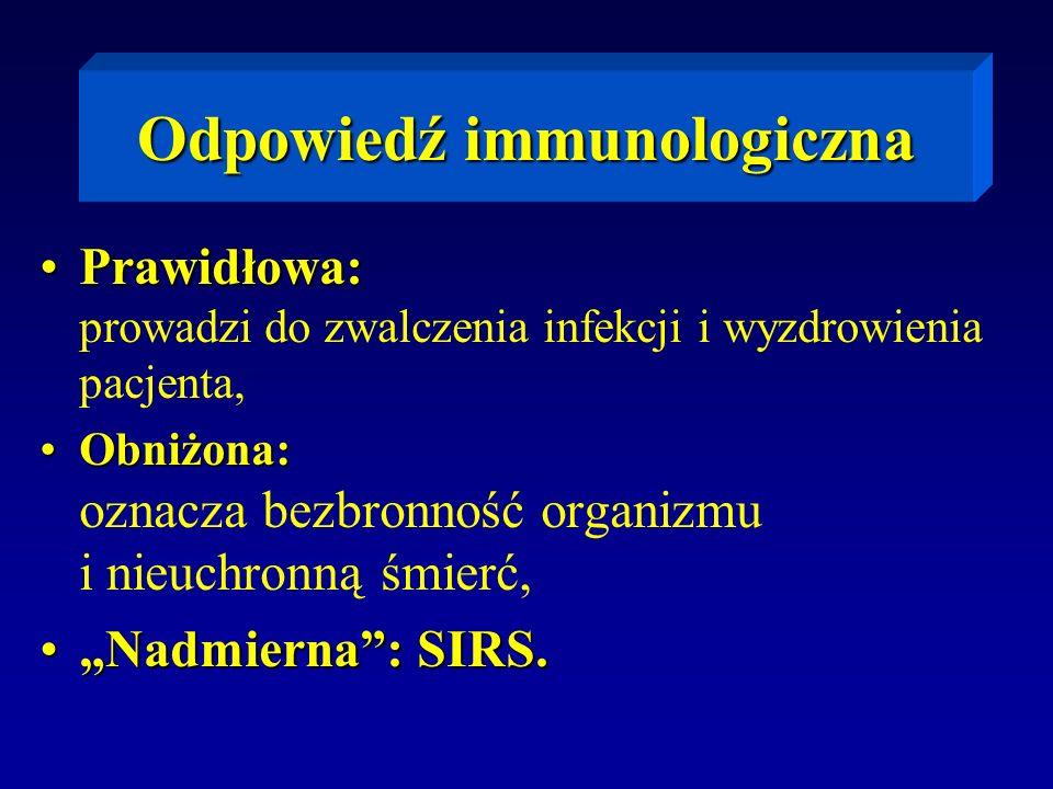 Odpowiedź immunologiczna Prawidłowa:Prawidłowa: prowadzi do zwalczenia infekcji i wyzdrowienia pacjenta, Obniżona:Obniżona: oznacza bezbronność organi
