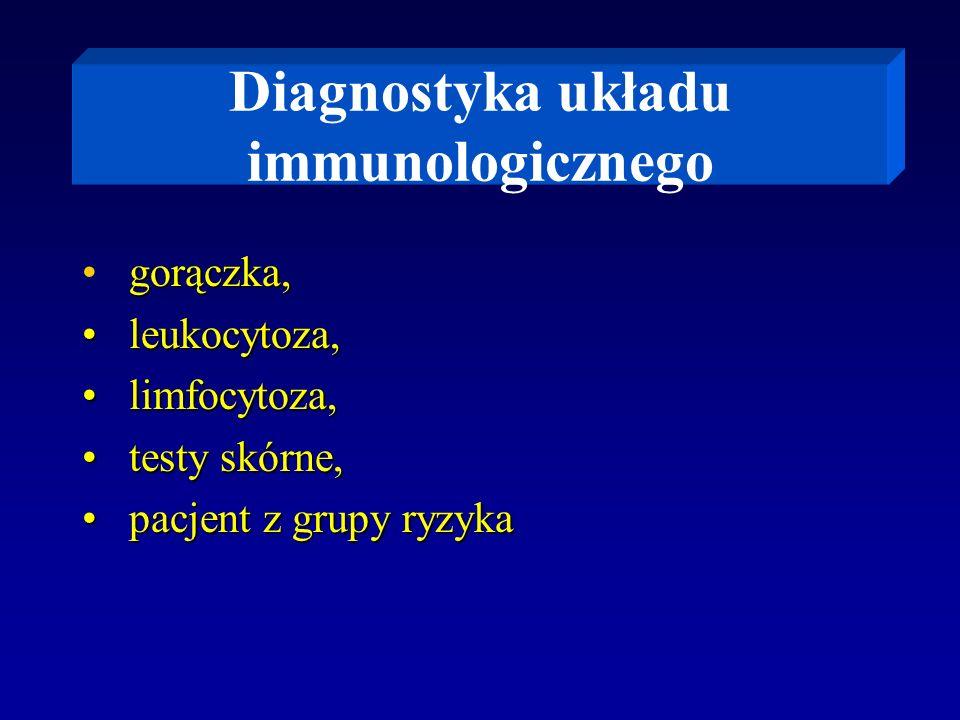 Diagnostyka układu immunologicznego gorączka, leukocytoza, leukocytoza, limfocytoza, limfocytoza, testy skórne, testy skórne, pacjent z grupy ryzyka p