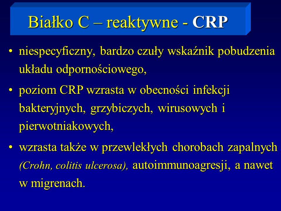 Białko C – reaktywne - CRP niespecyficzny, bardzo czuły wskaźnik pobudzenia układu odpornościowego,niespecyficzny, bardzo czuły wskaźnik pobudzenia uk