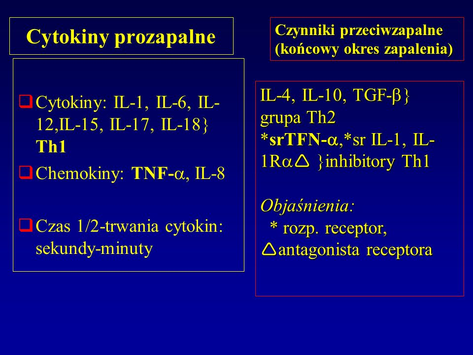 Cytokiny prozapalne Cytokiny: IL-1, IL-6, IL- 12,IL-15, IL-17, IL-18 Th1 Chemokiny: TNF-, IL-8 Czas 1/2-trwania cytokin: sekundy-minuty Czynniki przec
