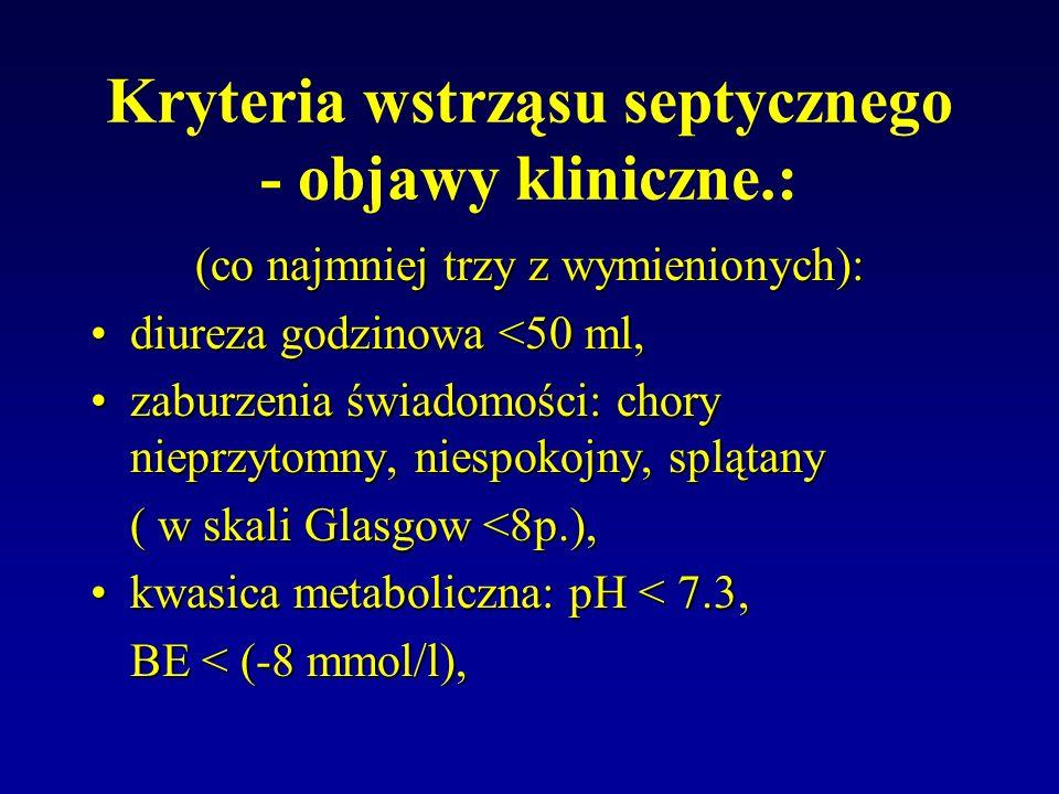 Kryteria wstrząsu septycznego - objawy kliniczne.: (co najmniej trzy z wymienionych): diureza godzinowa <50 ml,diureza godzinowa <50 ml, zaburzenia św