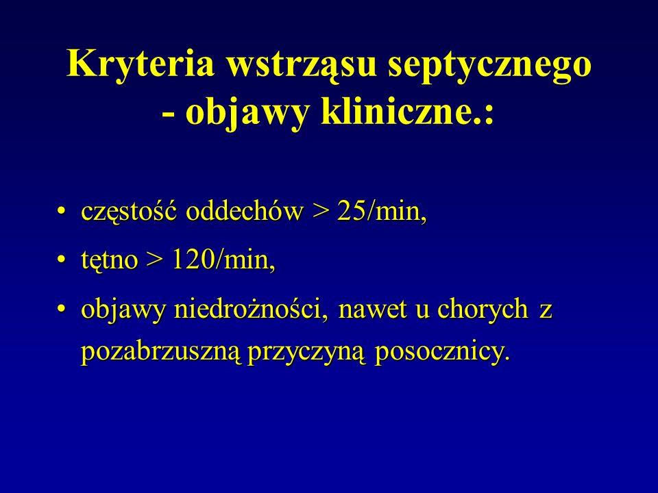 Kryteria wstrząsu septycznego - objawy kliniczne.: częstość oddechów > 25/min,częstość oddechów > 25/min, tętno > 120/min,tętno > 120/min, objawy nied