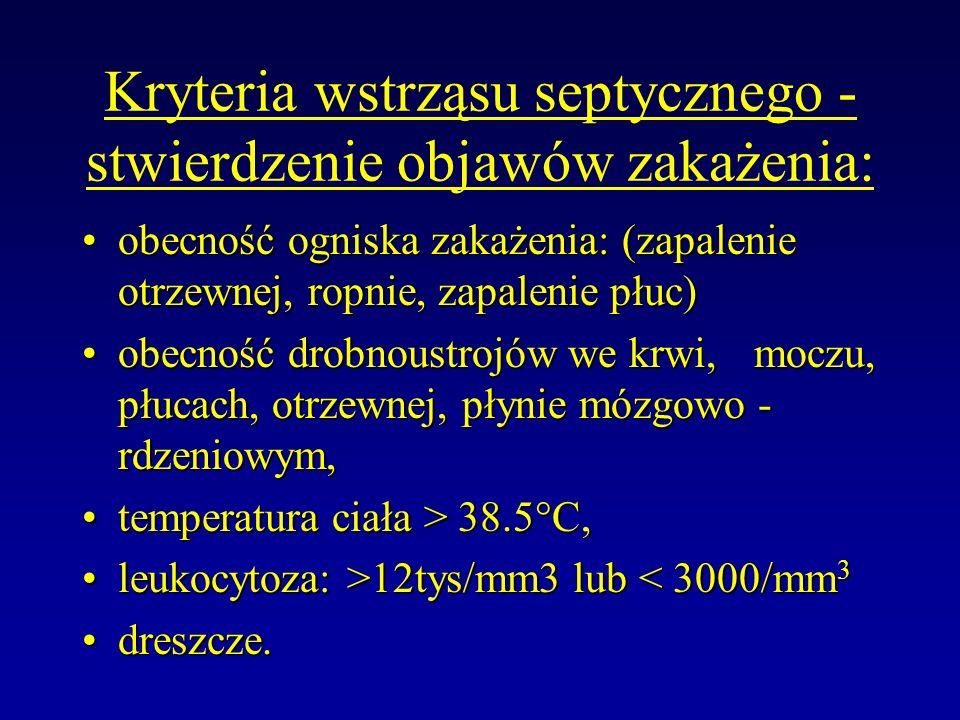 Kryteria wstrząsu septycznego - stwierdzenie objawów zakażenia: obecność ogniska zakażenia: (zapalenie otrzewnej, ropnie, zapalenie płuc)obecność ogni