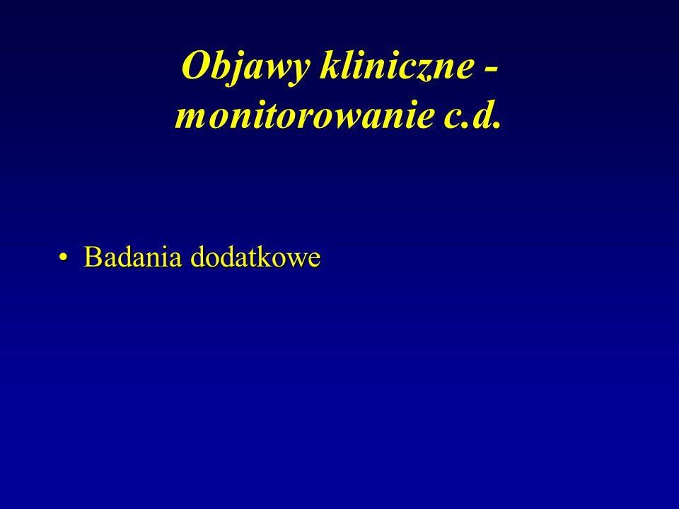 Objawy kliniczne - monitorowanie c.d. Badania dodatkoweBadania dodatkowe