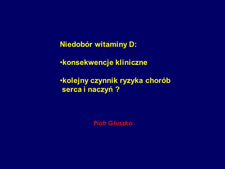 Niedobór witaminy D: konsekwencje kliniczne kolejny czynnik ryzyka chorób serca i naczyń ? Piotr Głuszko