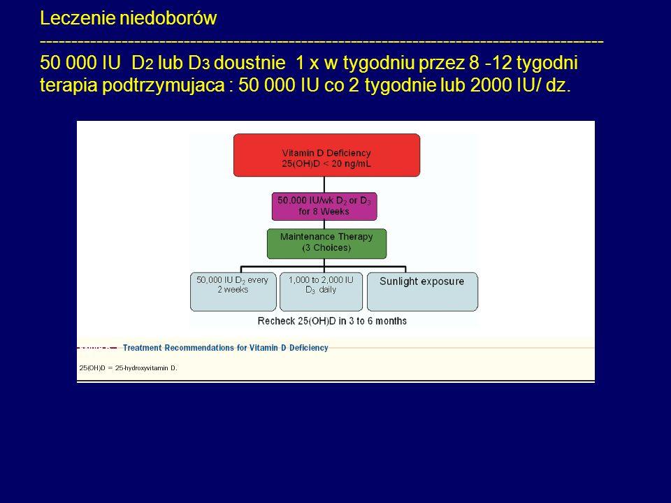 Leczenie niedoborów ------------------------------------------------------------------------------------------- 50 000 IU D 2 lub D 3 doustnie 1 x w t