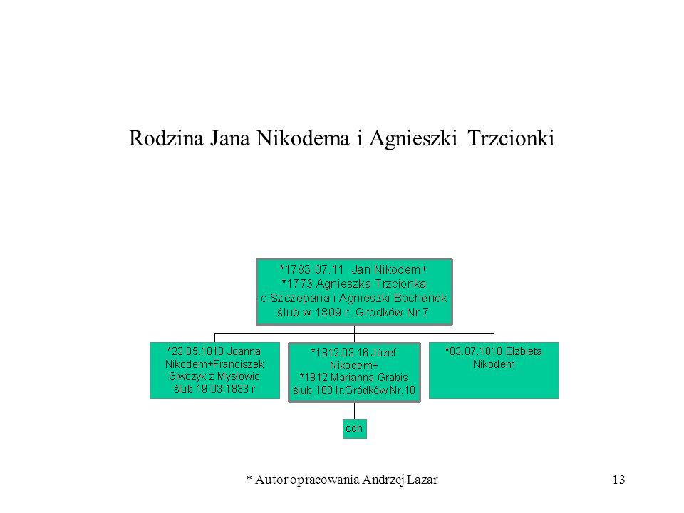 * Autor opracowania Andrzej Lazar13 Rodzina Jana Nikodema i Agnieszki Trzcionki