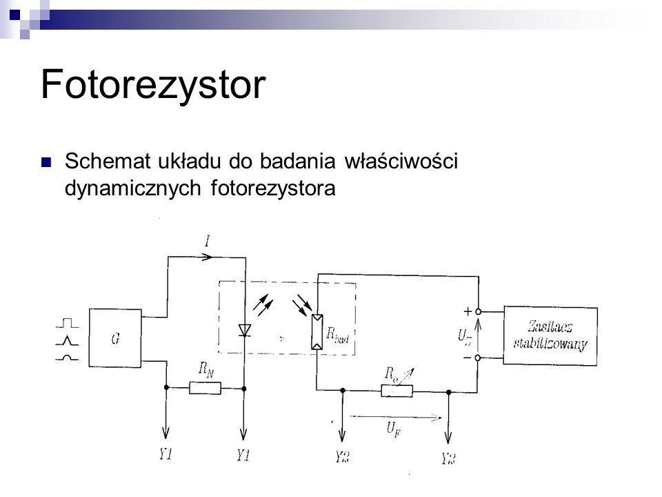 Fotorezystor Schemat układu do badania właściwości dynamicznych fotorezystora