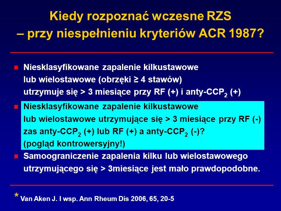 Kiedy rozpoznać wczesne RZS – przy niespełnieniu kryteriów ACR 1987? Niesklasyfikowane zapalenie kilkustawowe lub wielostawowe (obrzęki 4 stawów) utrz