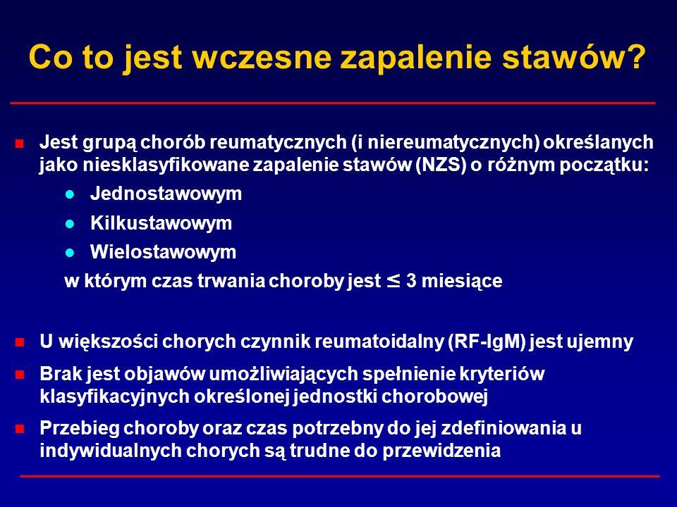 Poziom anty-CCP 2 a progresja radiologiczna we wczesnym RZS * Progresja (średnia zmiana SHS) Test NEGATYWNY13,1 (<25 U/ml) Poziom NISKI - UMIARKOWANY31,4 (25 – 200 U/ml) Poziom WYSOKI46,3 (>200 U/ml) Poziom anty-CCP 2 * Syversen SW i wsp.