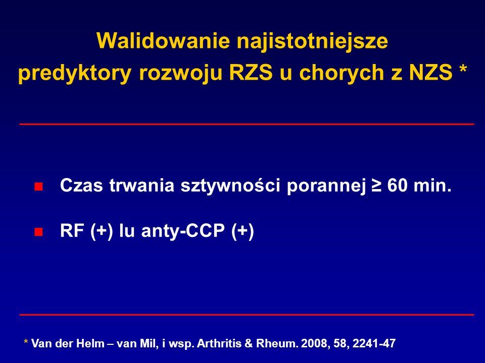 Walidowanie najistotniejsze predyktory rozwoju RZS u chorych z NZS * Czas trwania sztywności porannej 60 min. RF (+) lu anty-CCP (+) * Van der Helm –