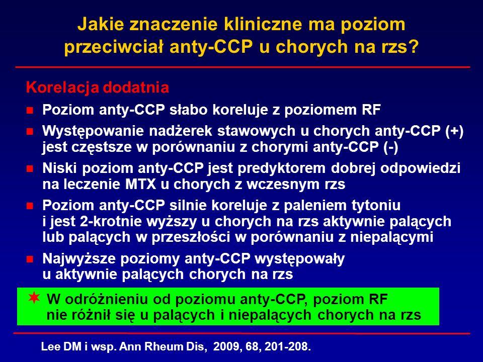 Jakie znaczenie kliniczne ma poziom przeciwciał anty-CCP u chorych na rzs? Korelacja dodatnia Poziom anty-CCP słabo koreluje z poziomem RF Występowani