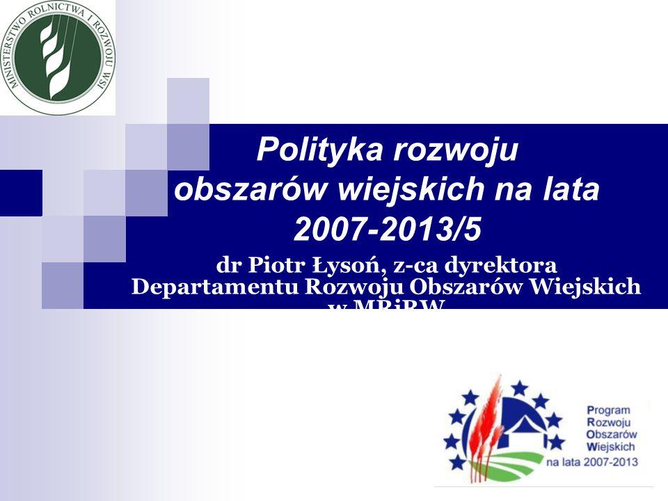 Polityka rozwoju obszarów wiejskich w Unii Europejskiej w ramach Wspólnej Polityki Rolnej – lata 2007 - 2013 Płatności bezpośrednie Płatności rynkowe Europejski Fundusz Gwarancji Rolnej (dawna Gwarancja) Płatności bezpośrednie Płatności rynkowe Europejski Fundusz Gwarancji Rolnej (dawna Gwarancja) Jeden program rozwoju obszarów wiejskich (dawny II filar WPR oraz część polityki strukturalnej dla obszarów wiejskich i rolnictwa) Europejski Fundusz Rolny na rzecz Rozwoju Obszarów Wiejskich (dawna Orientacja + Gwarancja)