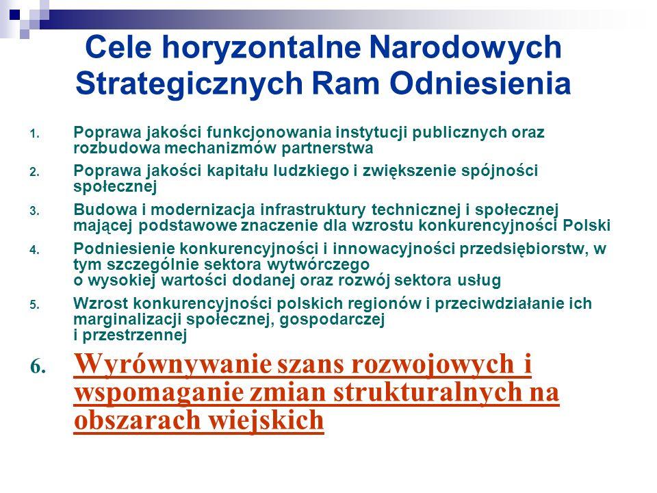 Cele horyzontalne Narodowych Strategicznych Ram Odniesienia 1. Poprawa jakości funkcjonowania instytucji publicznych oraz rozbudowa mechanizmów partne