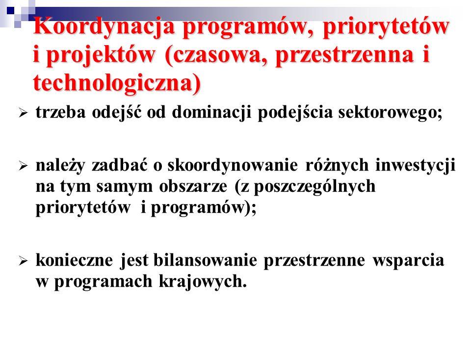 Koordynacja programów, priorytetów i projektów (czasowa, przestrzenna i technologiczna) trzeba odejść od dominacji podejścia sektorowego; należy zadba