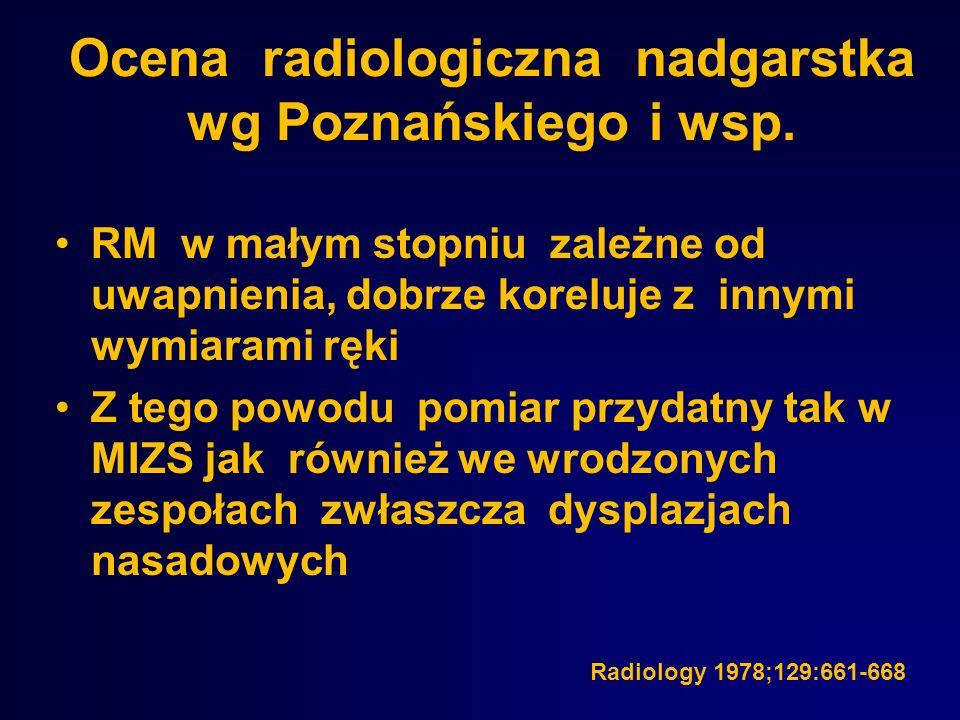 Ocena radiologiczna nadgarstka wg Poznańskiego i wsp. RM w małym stopniu zależne od uwapnienia, dobrze koreluje z innymi wymiarami ręki Z tego powodu