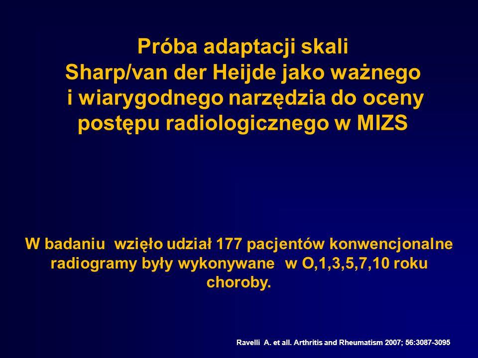 Próba adaptacji skali Sharp/van der Heijde jako ważnego i wiarygodnego narzędzia do oceny postępu radiologicznego w MIZS Ravelli A. et all. Arthritis