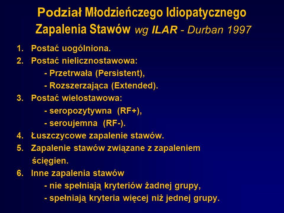 Podział Młodzieńczego Idiopatycznego Zapalenia Stawów wg ILAR - Durban 1997 1. Postać uogólniona. 2. Postać nielicznostawowa: - Przetrwała (Persistent