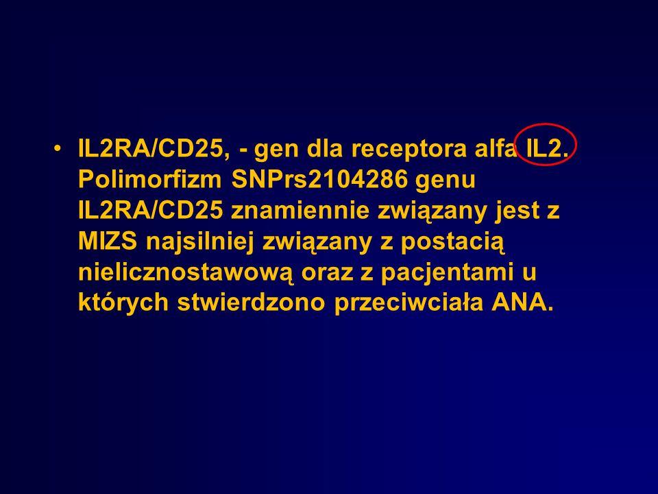 IL2RA/CD25, - gen dla receptora alfa IL2. Polimorfizm SNPrs2104286 genu IL2RA/CD25 znamiennie związany jest z MIZS najsilniej związany z postacią niel