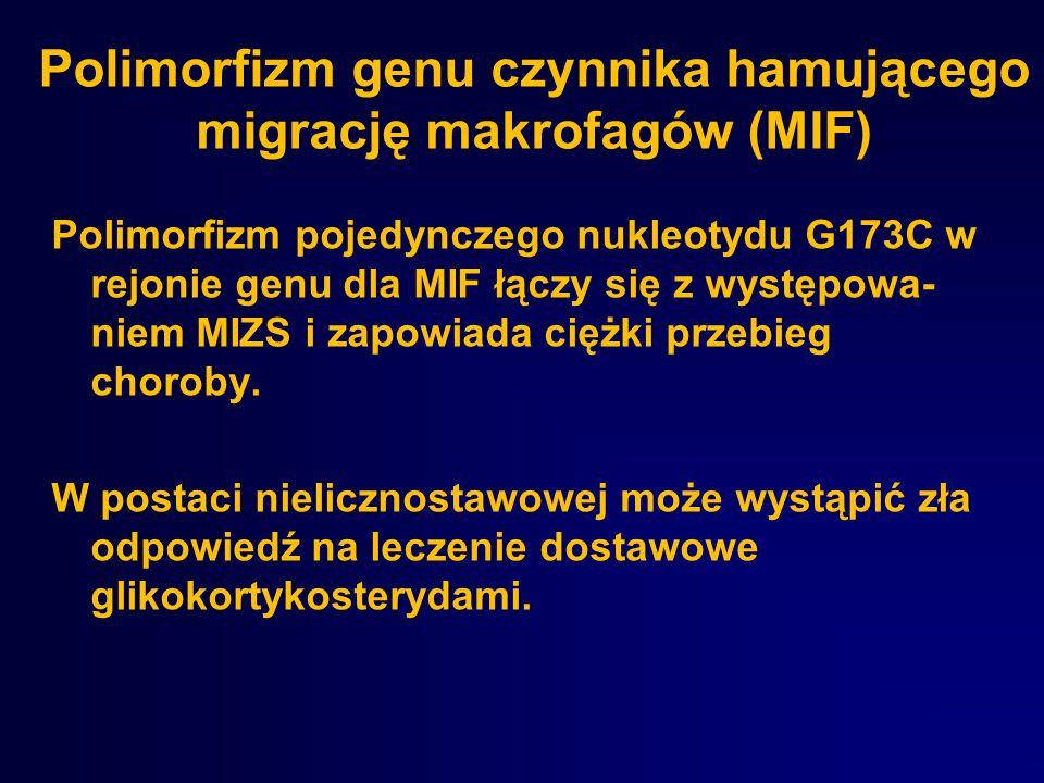 Polimorfizm genu czynnika hamującego migrację makrofagów (MIF) Polimorfizm pojedynczego nukleotydu G173C w rejonie genu dla MIF łączy się z występowa-