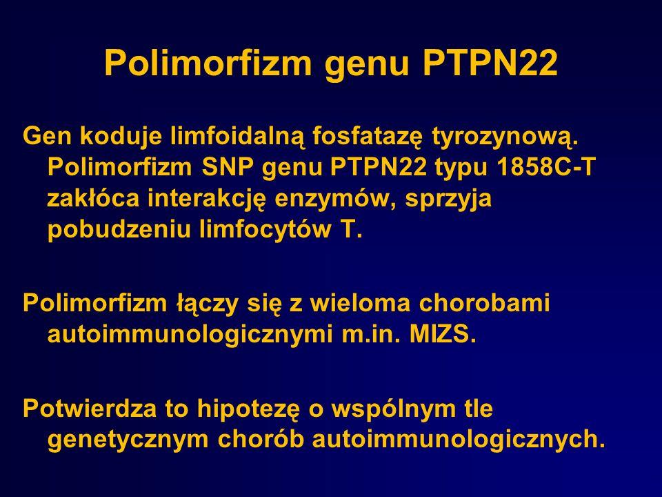 Polimorfizm genu PTPN22 Gen koduje limfoidalną fosfatazę tyrozynową. Polimorfizm SNP genu PTPN22 typu 1858C-T zakłóca interakcję enzymów, sprzyja pobu