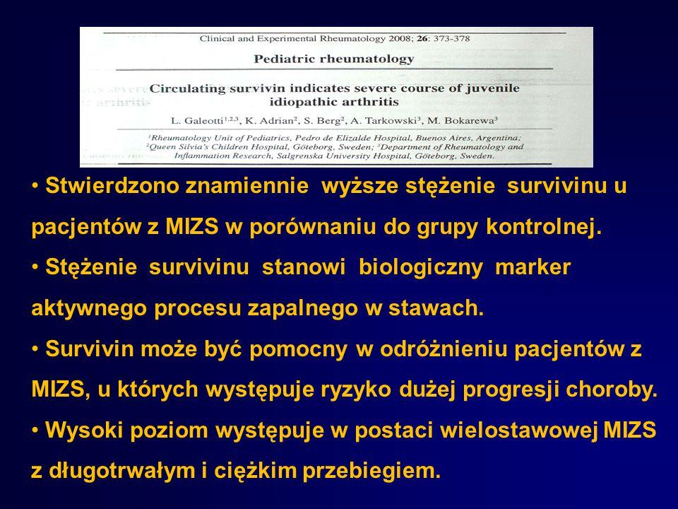 Stwierdzono znamiennie wyższe stężenie survivinu u pacjentów z MIZS w porównaniu do grupy kontrolnej. Stężenie survivinu stanowi biologiczny marker ak