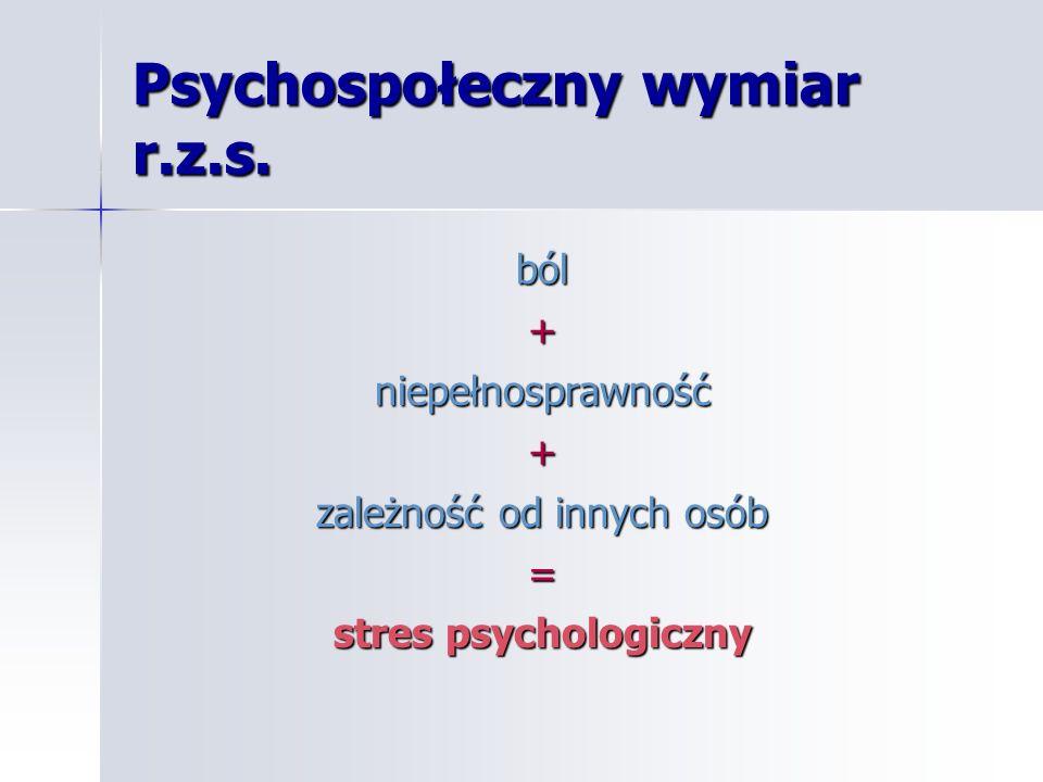 Psychospołeczny wymiar r.z.s. ból+niepełnosprawność+ zależność od innych osób = stres psychologiczny