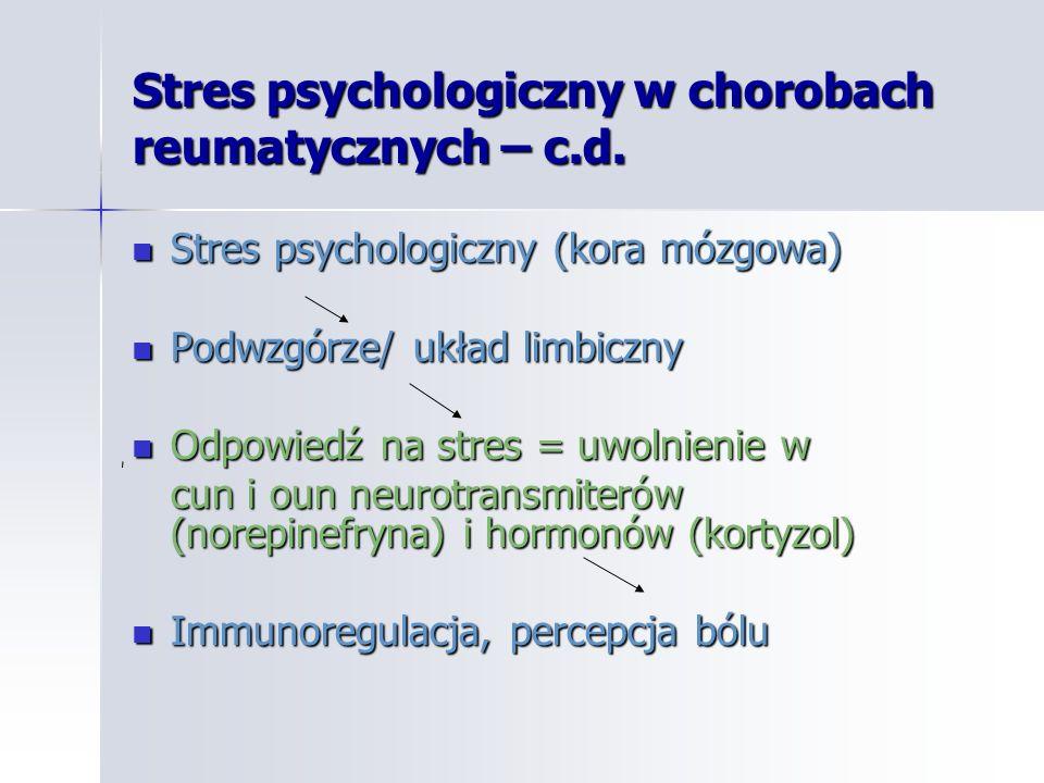 Stres psychologiczny w chorobach reumatycznych – c.d. Stres psychologiczny (kora mózgowa) Stres psychologiczny (kora mózgowa) Podwzgórze/ układ limbic