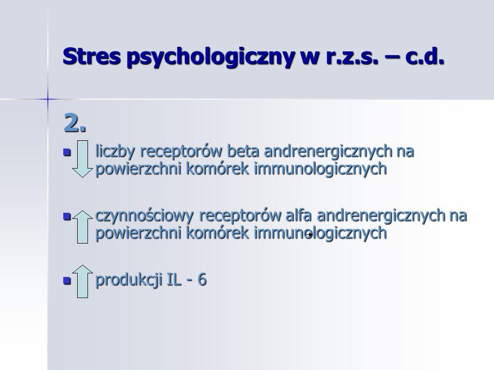 Stres psychologiczny w r.z.s. – c.d. 2. liczby receptorów beta andrenergicznych na powierzchni komórek immunologicznych liczby receptorów beta andrene