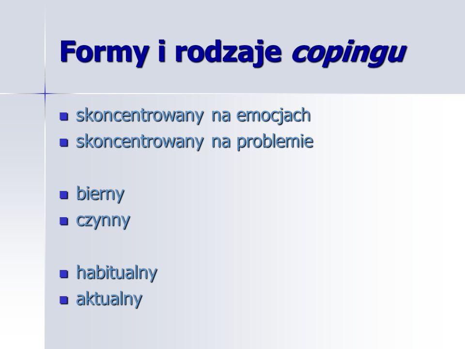 Formy i rodzaje copingu skoncentrowany na emocjach skoncentrowany na emocjach skoncentrowany na problemie skoncentrowany na problemie bierny bierny cz