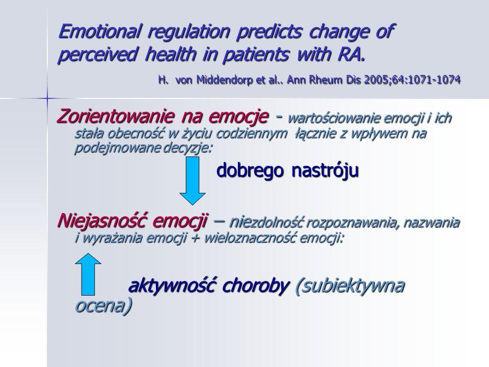 Emotional regulation predicts change of perceived health in patients with RA. H. von Middendorp et al.. Ann Rheum Dis 2005;64:1071-1074 Zorientowanie