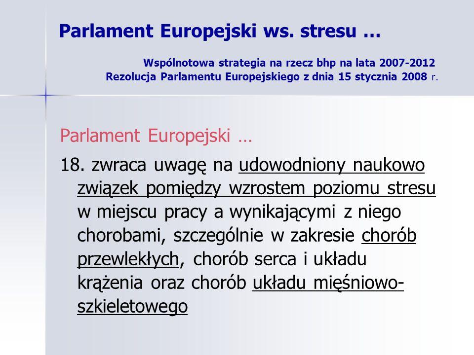 Parlament Europejski ws. stresu … Wspólnotowa strategia na rzecz bhp na lata 2007-2012 Rezolucja Parlamentu Europejskiego z dnia 15 stycznia 2008 r. P