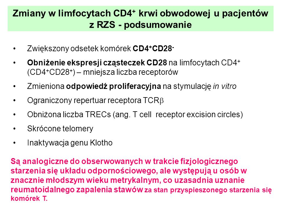 Zmiany w limfocytach CD4 + krwi obwodowej u pacjentów z RZS - podsumowanie Zwiększony odsetek komórek CD4 + CD28 - Obniżenie ekspresji cząsteczek CD28