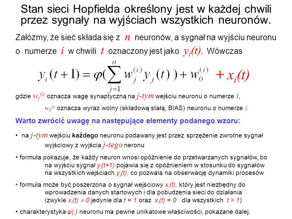 Stan sieci Hopfielda określony jest w każdej chwili przez sygnały na wyjściach wszystkich neuronów. Załóżmy, że sieć składa się z n neuronów, a sygnał