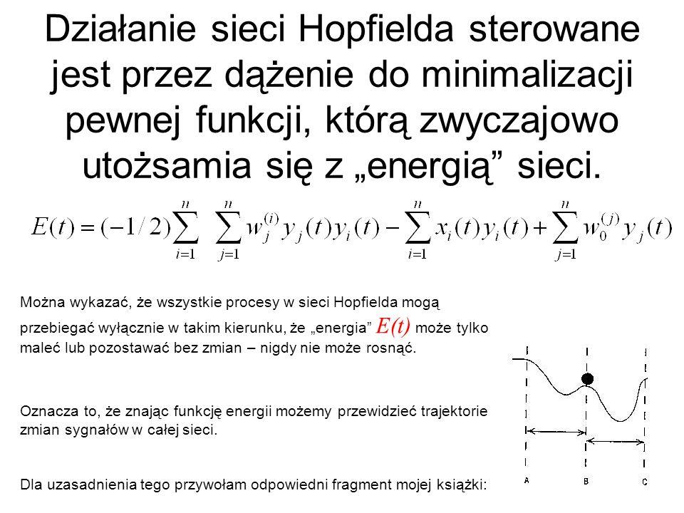 Działanie sieci Hopfielda sterowane jest przez dążenie do minimalizacji pewnej funkcji, którą zwyczajowo utożsamia się z energią sieci. Można wykazać,