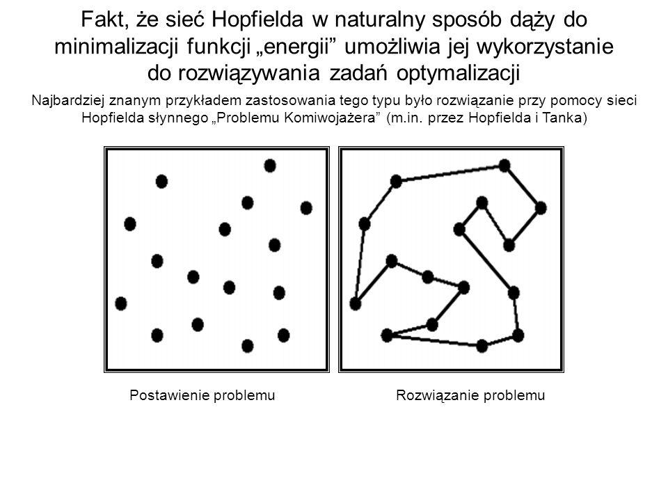 Fakt, że sieć Hopfielda w naturalny sposób dąży do minimalizacji funkcji energii umożliwia jej wykorzystanie do rozwiązywania zadań optymalizacji Najb