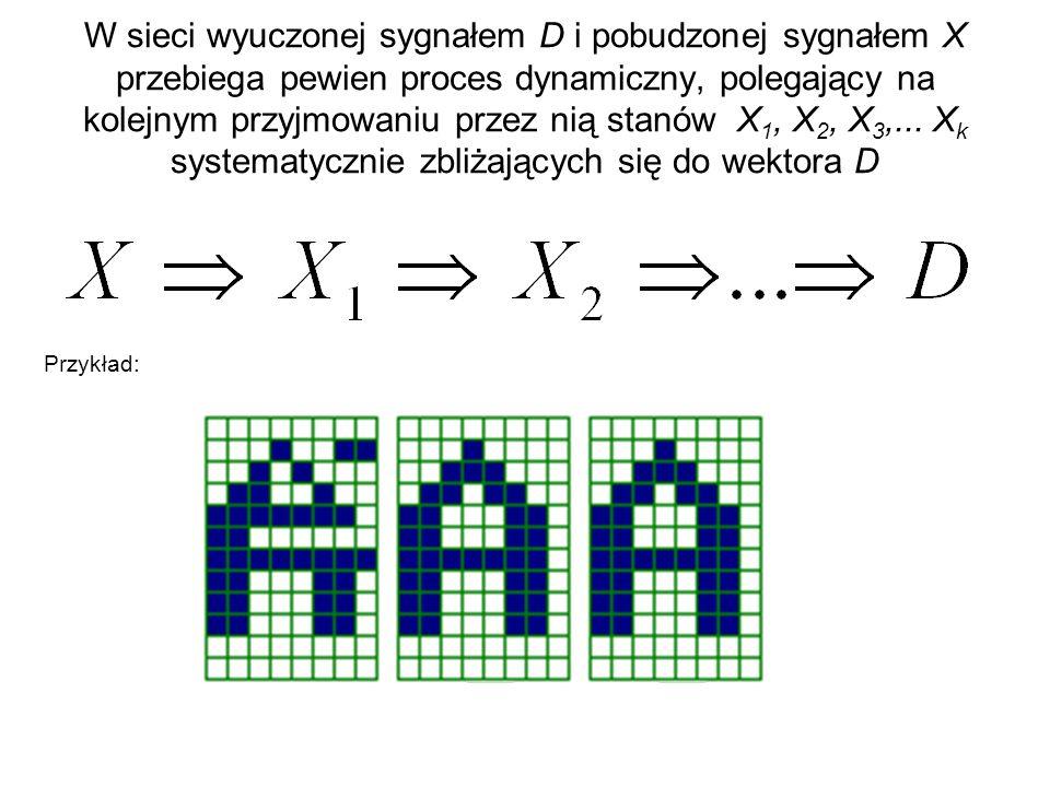 W sieci wyuczonej sygnałem D i pobudzonej sygnałem X przebiega pewien proces dynamiczny, polegający na kolejnym przyjmowaniu przez nią stanów X 1, X 2