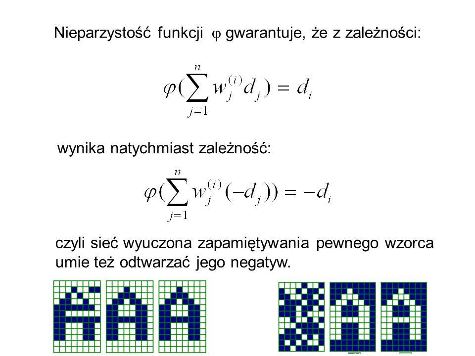 Nieparzystość funkcji gwarantuje, że z zależności: wynika natychmiast zależność: czyli sieć wyuczona zapamiętywania pewnego wzorca umie też odtwarzać