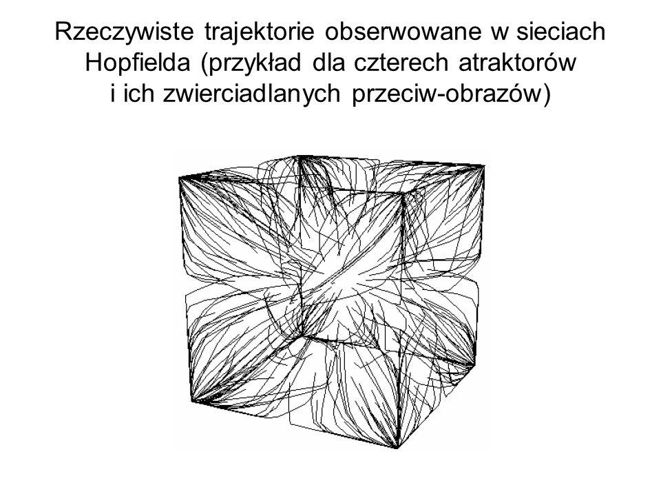 Rzeczywiste trajektorie obserwowane w sieciach Hopfielda (przykład dla czterech atraktorów i ich zwierciadlanych przeciw-obrazów)