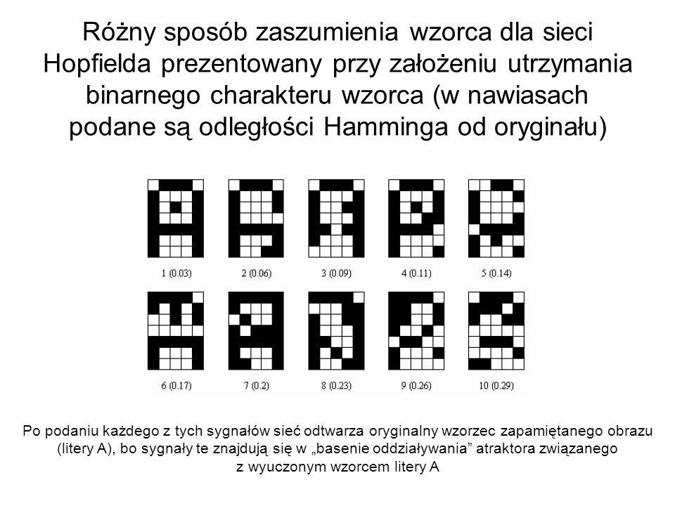 Różny sposób zaszumienia wzorca dla sieci Hopfielda prezentowany przy założeniu utrzymania binarnego charakteru wzorca (w nawiasach podane są odległoś