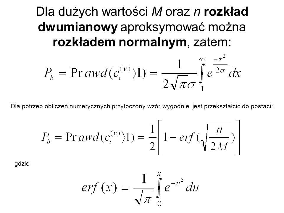 Dla dużych wartości M oraz n rozkład dwumianowy aproksymować można rozkładem normalnym, zatem: Dla potrzeb obliczeń numerycznych przytoczony wzór wygo