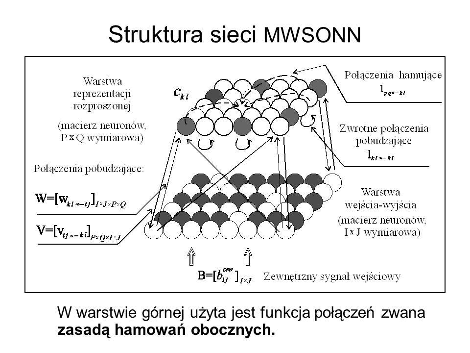 Struktura sieci MWSONN W warstwie górnej użyta jest funkcja połączeń zwana zasadą hamowań obocznych.