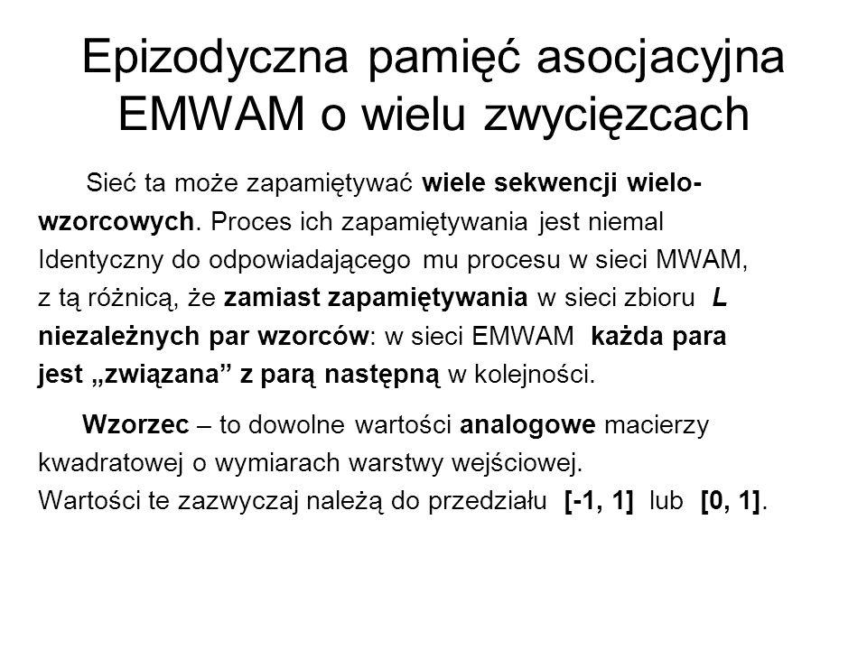 Epizodyczna pamięć asocjacyjna EMWAM o wielu zwycięzcach Sieć ta może zapamiętywać wiele sekwencji wielo- wzorcowych. Proces ich zapamiętywania jest n
