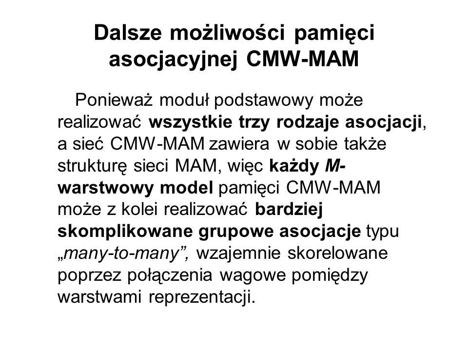 Dalsze możliwości pamięci asocjacyjnej CMW-MAM Ponieważ moduł podstawowy może realizować wszystkie trzy rodzaje asocjacji, a sieć CMW-MAM zawiera w so
