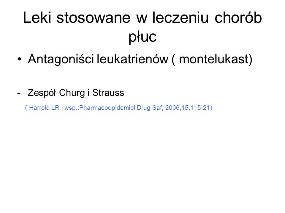 Leki stosowane w leczeniu chorób płuc Antagoniści leukatrienów ( montelukast) -Zespół Churg i Strauss ( Harrold LR i wsp.:Pharmacoepidemiol Drug Saf,