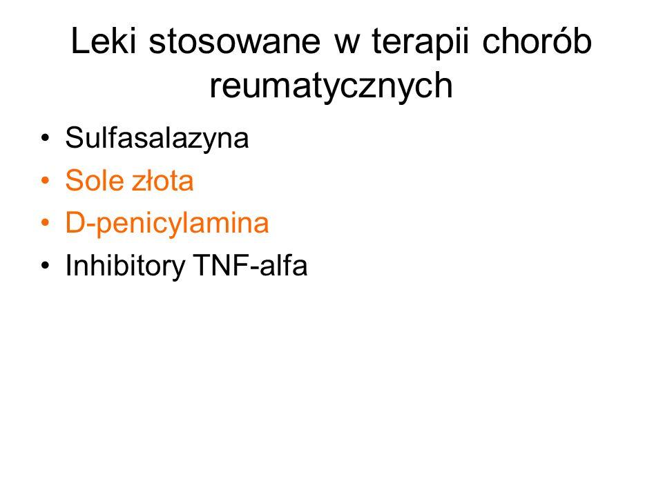 Leki stosowane w terapii chorób reumatycznych Sulfasalazyna Sole złota D-penicylamina Inhibitory TNF-alfa