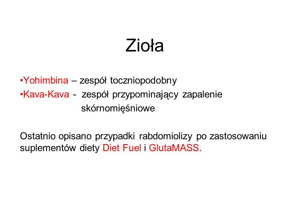 Zioła Yohimbina – zespół toczniopodobny Kava-Kava - zespół przypominający zapalenie skórnomięśniowe Ostatnio opisano przypadki rabdomiolizy po zastoso