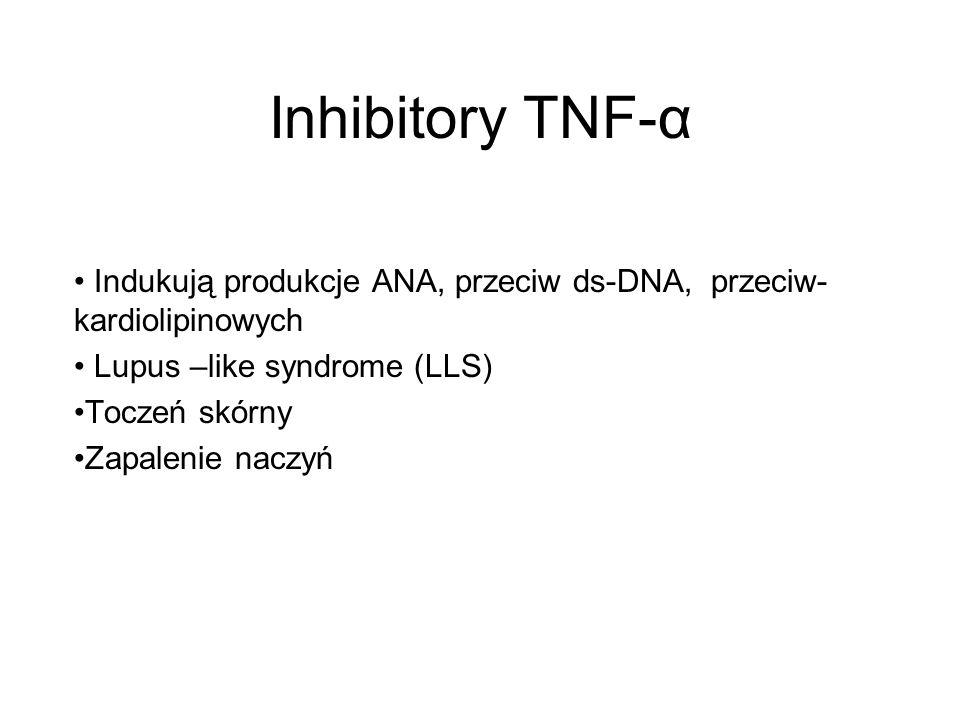 Inhibitory TNF-α Indukują produkcje ANA, przeciw ds-DNA, przeciw- kardiolipinowych Lupus –like syndrome (LLS) Toczeń skórny Zapalenie naczyń